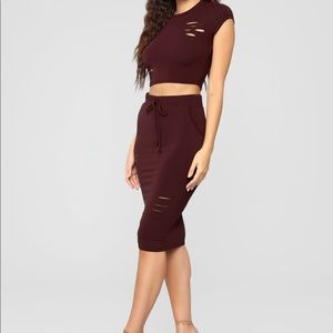 Fashion nova 2 peice women's skirt set